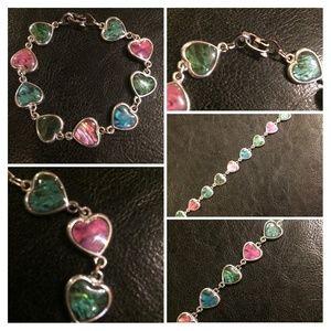 Dainty heart shape abalone and silver bracelet
